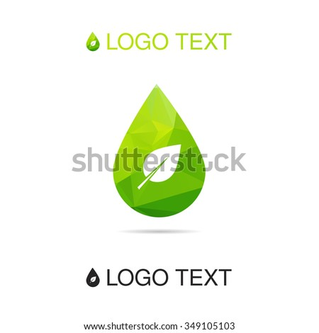 Ecology water logo or icon with leaf, nature symbol, drop sign. Vector
