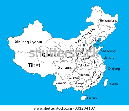 Editable Blank Vector Map Of China Vector Map Of China Isolated On Background High
