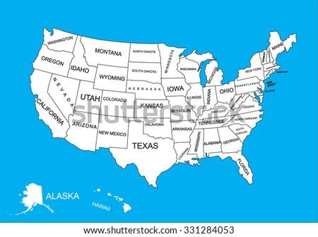 Editable Blank Vector Map United States Stock Vector - Eitable us map