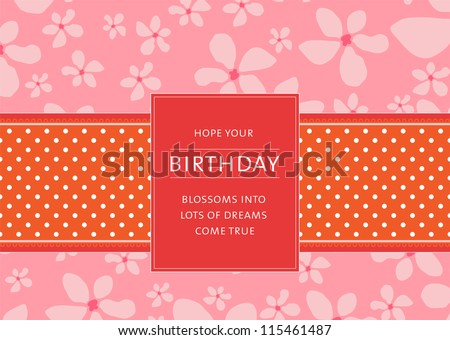 Editable template for a birthday card with floral background, a polkadot ribbon and a retro label with your message