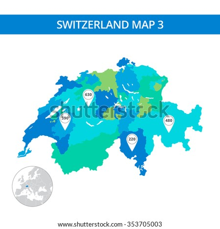 Editable template of detailed map of Switzerland with map pointers and country silhouette on world map, isolated on white