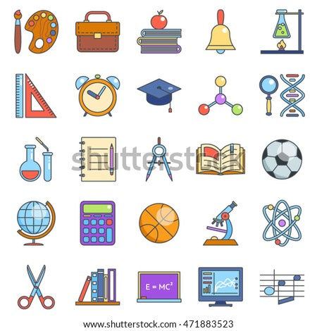 Education and school icons set line art isolated vector illustration