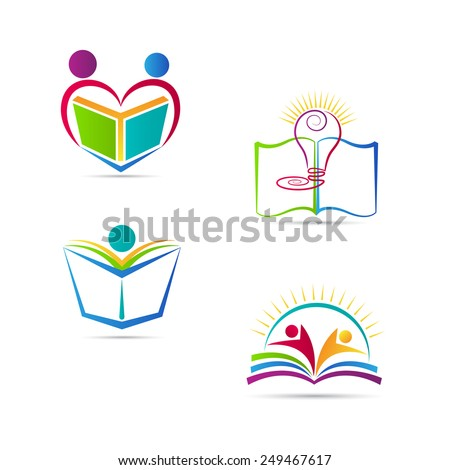 education book logo vector design represents school university and education emblem