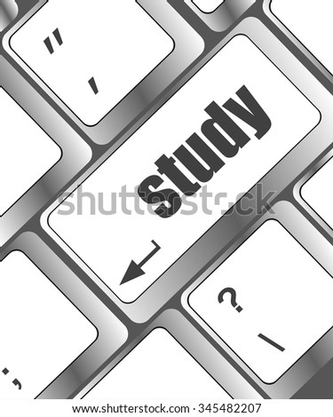 Education concept: computer keyboard with word study, selected focus on enter button background vector illustration