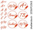 Education rating symbols surrounded by a red pencil. A plus, 20/20, from A to F letters collection. Vector set. - stock photo