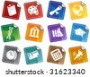 Education Sticker Icon Set : School themed buttons. - stock vector