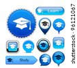 Education web buttons for website or app. Vector eps10. - stock vector