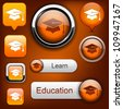 Education web orange buttons for website or app. Vector eps10. - stock vector
