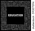 EDUCATION. Word collage on black background. Illustration with different association terms. - stock photo