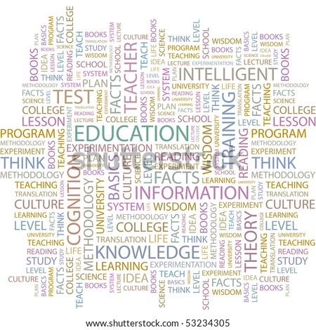 EDUCATION. Word collage on white background. Vector illustration.