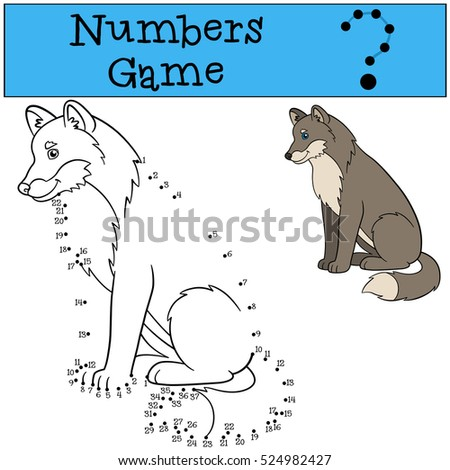 Educational game: Numbers game. Cute beautiful wolf sits and smiles.