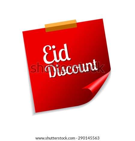 Eid Discount Red Sticky Notes Vector Icon Design