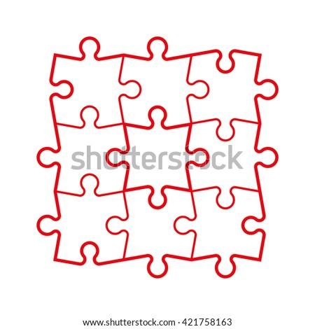 jigsaw puzzle vector blank simple template stock vector 283500146