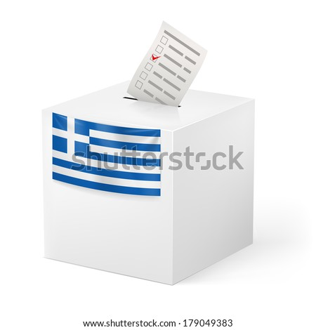 Election in Greece: ballot box with voicing paper isolated on white background