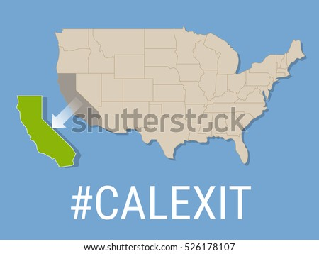 Election or referendum in United States of America. Calexit - California is secede From USA. California republic Independence Campaign. Vector illustration. Hashtag Calexit on USA flag.
