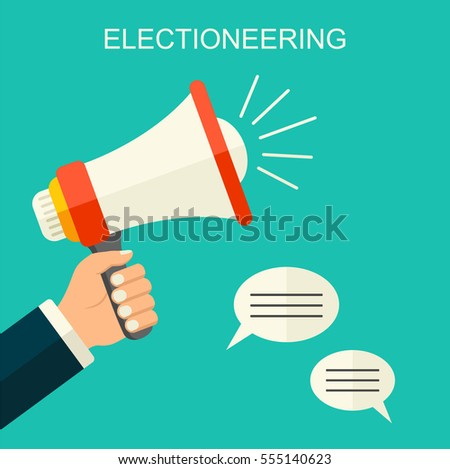 Electioneering flat style vector background. Cartoon human hand holding megaphone. social media promotion marketing illustration.