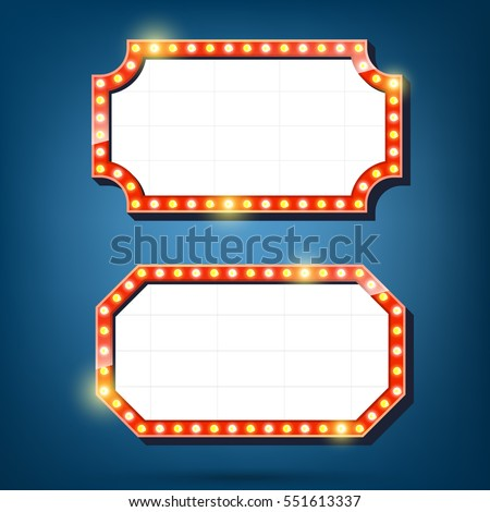Electric bulbs billboard. Retro light frames. Vector illustration