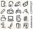 electric goods of household appliance icons set - stock photo