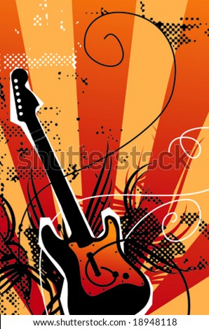 Electric Guitar poster. Vector illustration.