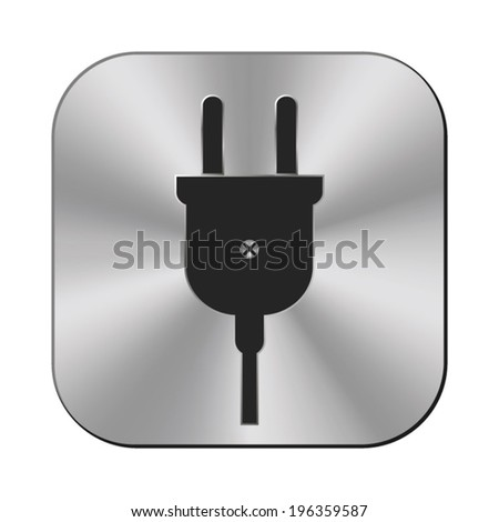 electric plug icon - vector metal button