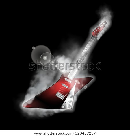 Electric rock guitar on black background with smoke and lightening. You can use any text or image on a black background.