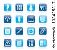 Electrical devices and equipment icons - vector icon set - stock vector