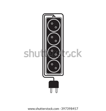 electrical extension cord in a modern flat style electric surge protector icon electric extension