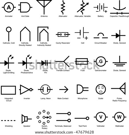 electrical symbol icon set isolated on stock vector 47679628 shutterstock. Black Bedroom Furniture Sets. Home Design Ideas