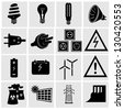 Electricity and energy icon set. Vector illustration. - stock vector