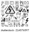 Electricity Doodle icon collection, vector illustration. - stock photo
