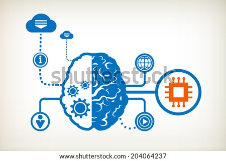 Electronic chip and abstract human brain, the concept of the information movement
