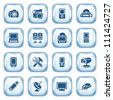 Electronics web icons on glossy buttons. - stock vector