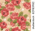 Elegance Seamless wallpaper pattern with of pink roses on floral background, vector illustration - stock vector