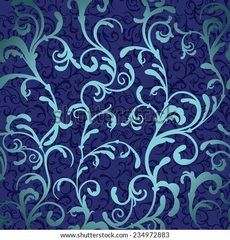 Elegant abstract floral wallpaper. Seamless swirls pattern in blue