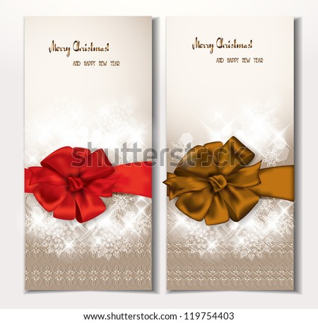 Elegant banners with pattern, bows ans ribbons