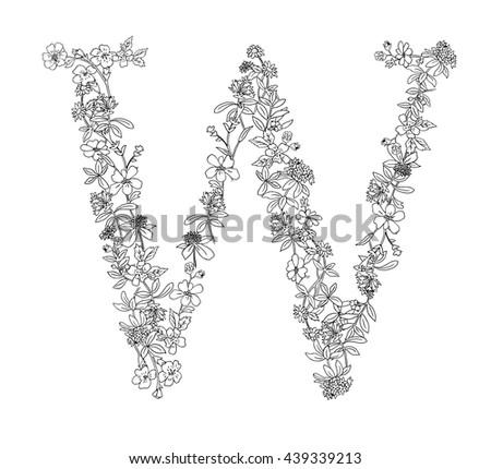 Capital Letter W Flowers Vector Stock Vector 103476350