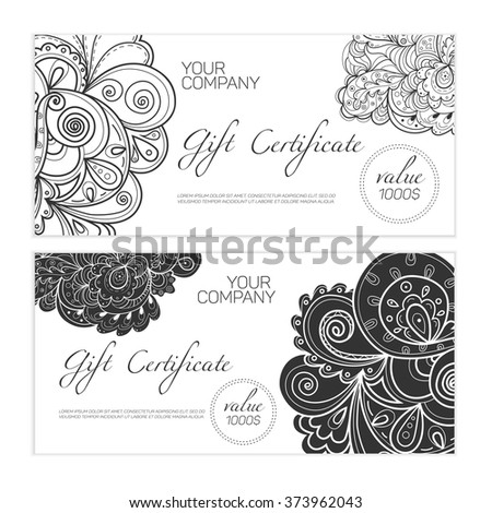 Elegant gift certificate template abstract ornamental stock vector elegant black and white gift certificate template abstract ornamental background yadclub Choice Image