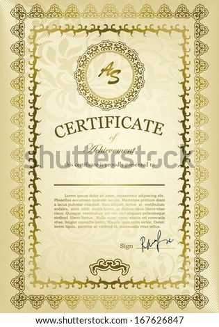 Elegant Classic Certificate of achievement. Vintage frames and border. Easy to use.