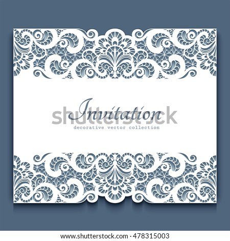 Elegant cutout paper frame with lace border ornament, vector greeting card or invitation template, eps10