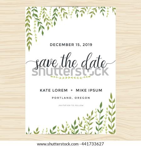 Save date wedding invitation card template stock vector 493487599 elegant garden leafs design for save the date card wedding invitation template vector illustration stopboris Images