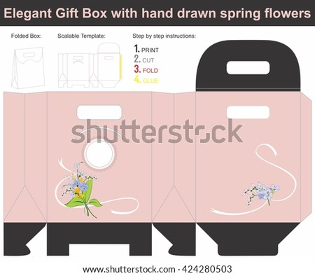 Elegant Gift Box with hand drawn spring flowers | Scalable template | Die-stamping