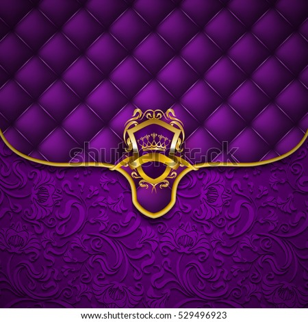 Elegant golden shield with gold crown, filigree decor on ornate envelope purple background. Luxury floral seamless pattern, button-tufted texture, blazon in vintage style. Vector illustration EPS 10.