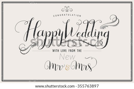 elegant Happy Wedding calligraphy design invitation and poster