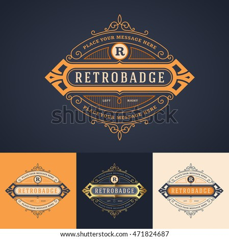 elegant ornate luxury badge, label or logo template in different color versions
