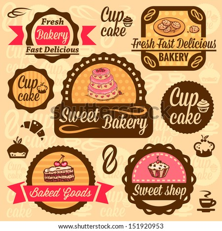 Elegant Vector Bakery Labels And Badges Set. All elements are grouped ...