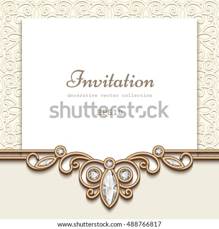 Elegant Save Date Card Jewelry Diamond Stock Vector 325172222