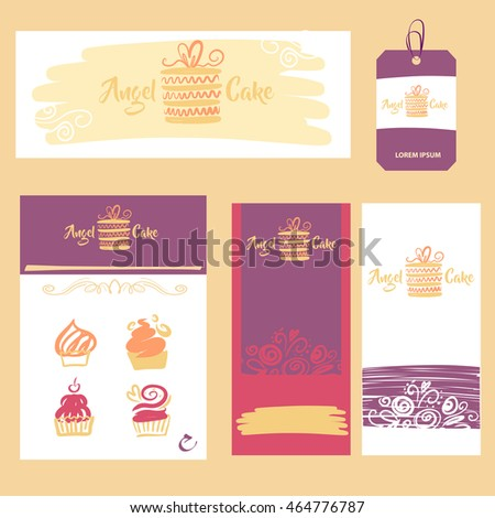 Element of design corporate identity, banner, business card, poster with freehand drawn vector cake logo for confectionery, sweet shop. Angel cake baking logo with heart.