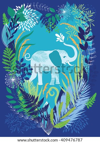 Elephant in the dense jungle undergrowth