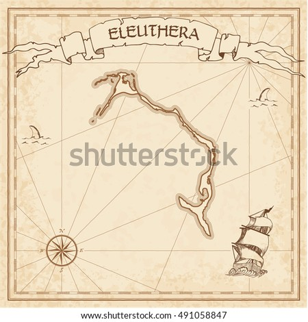 Eleuthera old treasure map. Sepia engraved template of pirate island parchment. Stylized manuscript on vintage paper.