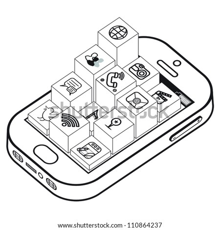 Elevated black and white apps coming out of smartphone.